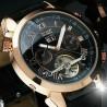 Pánské hodinky Jaragar Tourbillon zlaté s černým páskem