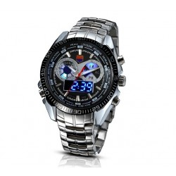 Pánské hodinky TVG LED Steel s černým ciferníkem