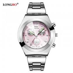 Dámské hodinky LONGBO 8399 s růžovým ciferníkem