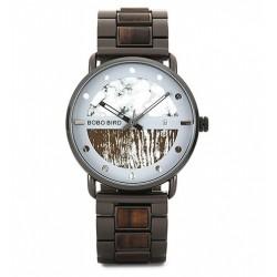 Pánské dřevěné hodinky Bobo Bird S01 bílé
