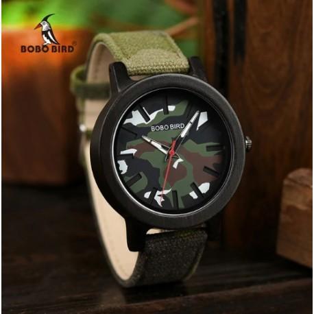 Pánské dřevěné hodinky Bobo Bird Army W-R24
