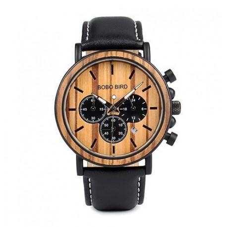 Pánské dřevěné hodinky Bobo Bird Stopwatch B-P09 s koženým páskem