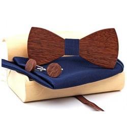 Sada dřevěného motýlku s kapesníčkem a knoflíčky modrá