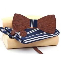 Sada dřevěného motýlku s kapesníčkem a knoflíčky blue stripes