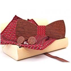 Sada dřevěného motýlku s kapesníčkem a knoflíčky červená