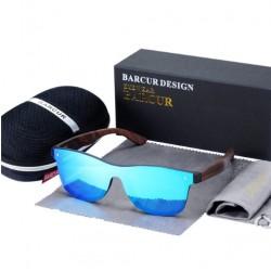 Dřevěné sluneční brýle BARCUR BC4126 modro-hnědé