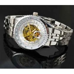 Pánské hodinky Jaragar Automatic Pilot Steel s bílým ciferníkem