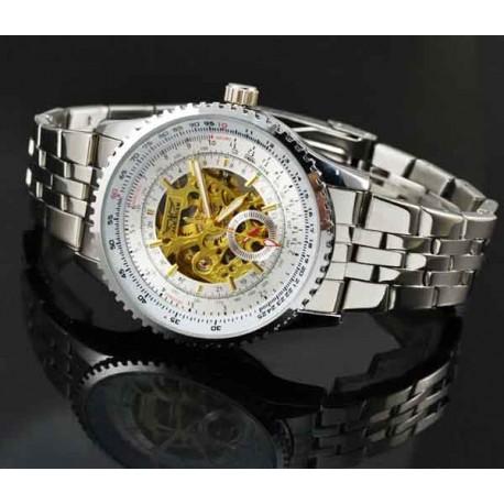 Pánské hodinky Jaragar Automatic Pilot Steel s černým ciferníkem 58ec028f3b6