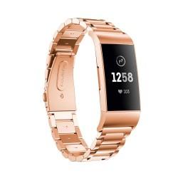 Kovový řemínek pro Fitbit Charge 3 růžový