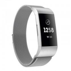 Řemínek Milánský tah pro Fitbit Charge 3 stříbrný