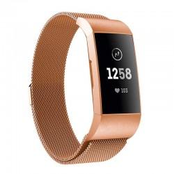 Řemínek Milánský tah pro Fitbit Charge 3 růžový