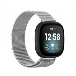 Řemínek Milánský tah pro Fitbit Versa 3 stříbrný