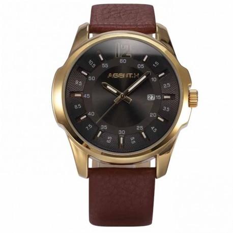 6a044854c63 Pánské hodinky AGENT X AGX030 s hnědým páskem a s černým ciferníkem