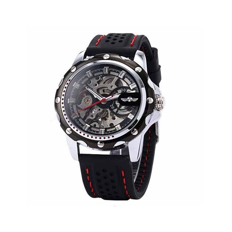1dc71213a Pánské hodinky Winner Automatic Rubber Skeleton černé