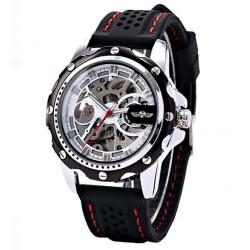 Pánské hodinky Winner Automatic Rubber Skeleton bílé