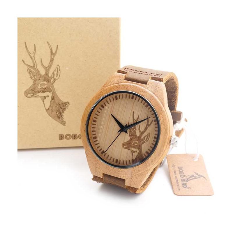 4a5555728 Pánské dřevěné hodinky Bobo Bird Animals Jelen