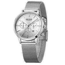 Dámské hodinky Megir Chronograph MS2011L stříbrné