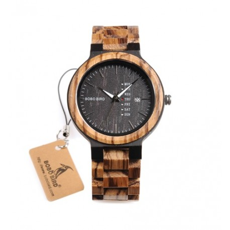 Pánské dřevěné hodinky Bobo Bird WO26 černé