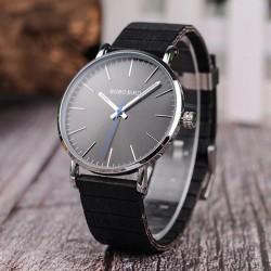Pánské hodinky s dřevěným páskem Bobo Bird W08 černé