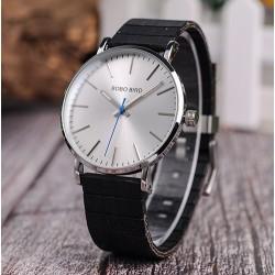 Pánské hodinky s dřevěným páskem Bobo Bird W08 černo-stříbrné