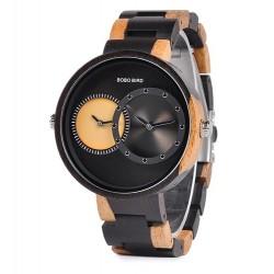 Pánské dřevěné hodinky Bobo Bird Dualtime W-R10 černé