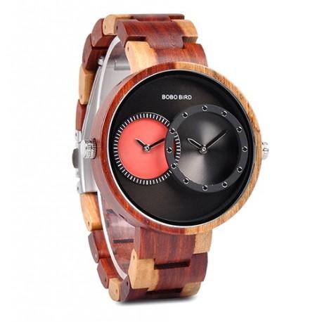 Pánské dřevěné hodinky Bobo Bird Dualtime W-R10 červené