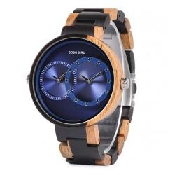 Pánské dřevěné hodinky Bobo Bird Dualtime W-R10 modré